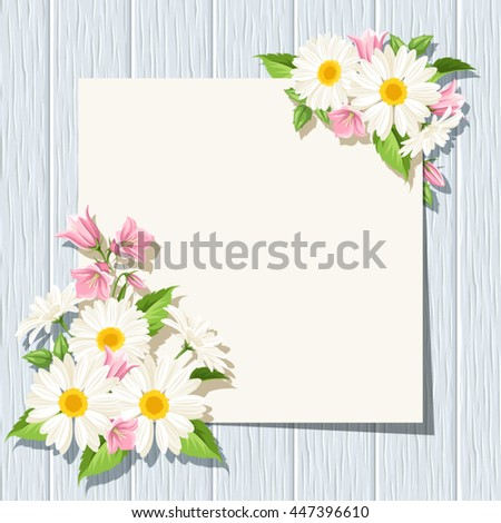 Vector card with daisies and pink bluebell flowers on a blue wooden background. - stock vector