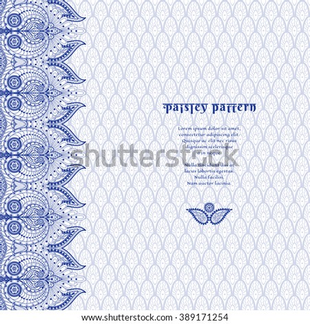Vector card with ethnic delicate backdrop and border with floral oriental paisley pattern. Place for your text. - stock vector
