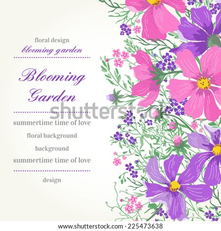 Vector card with flowers. Garden daisies and forget-me-not. - stock vector