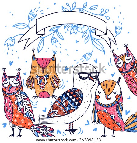 vector card with funny colorful owls