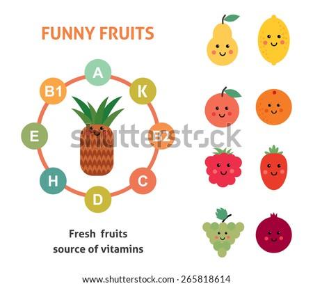 Vector card with funny fruit. organic food menu - stock vector