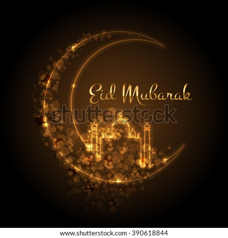 Vector card with glowing mosque - stock vector