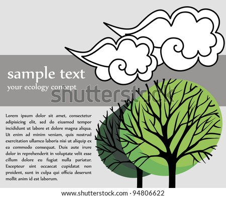 vector card with green trees for ecology concept - stock vector