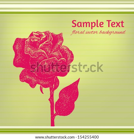 Vector card with hand drawn ink rose on stripy background.