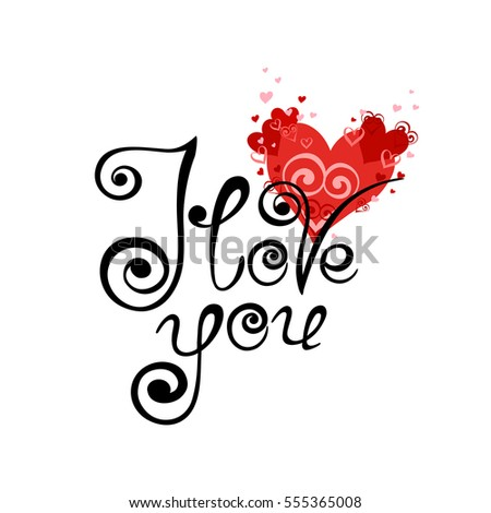 Vector Card Hearts Stylish Calligraphy Love Stock Vector