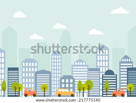 vector card with modern city landscape - stock vector