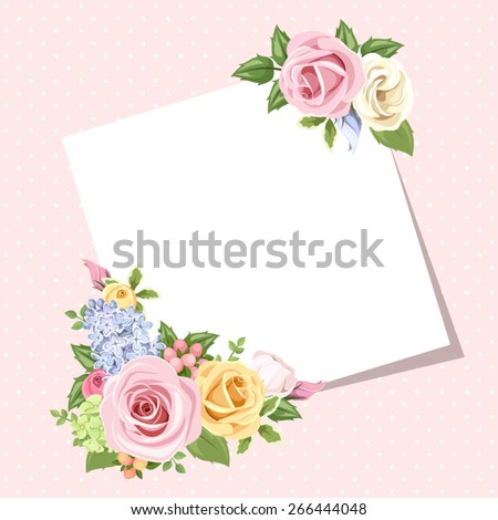 Vector card with pink, orange, yellow, blue and white roses and lisianthus flowers on a pink background.  - stock vector