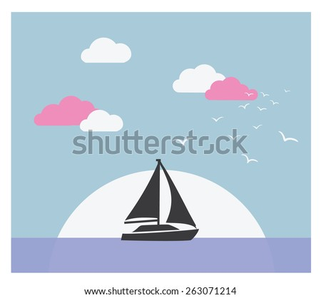 Vector card with sailboat against sunset. Holiday lifestyle landscape with sea skyline - stock vector