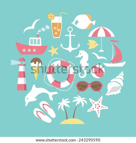 vector card with  sea and beach  icons