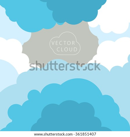 Vector card with stylized clouds on a simple background