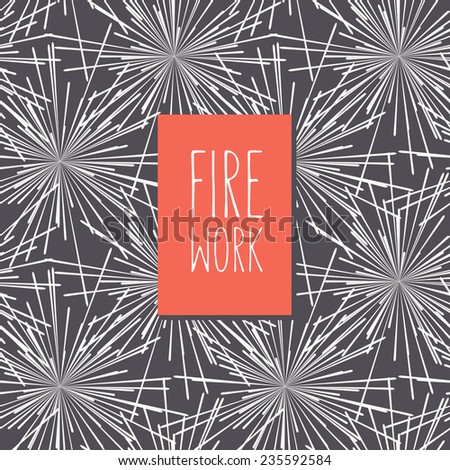 Vector card with stylized fireworks. At the base it has a seamless pattern. Red label with inscription Firework. Graphical monochrome background. Minimalist style. - stock vector