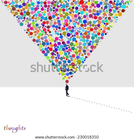 Vector card with walking man on a white winter background, bright colorful multicolor thoughts in a bubble form - stock vector