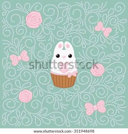 Vector card with white bunny with heart, cake, pink roses and polka dots bows. Abstract flat vintage design. - stock vector