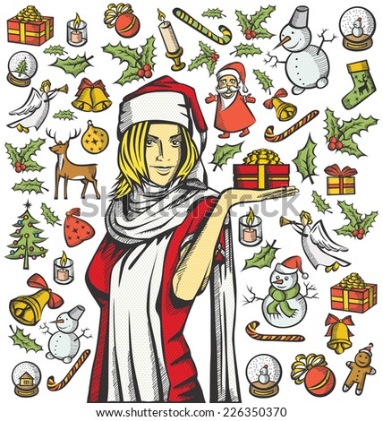 Vector Card with Woman, and Christmas, and New Year elements - stock vector