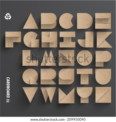 Vector Cardboard Alphabet Set - stock vector