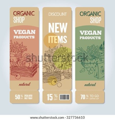 Vector cardboard banners set. Modern hand drawn design for sale and discount of vegetarian shop, web, site, advertising, poster and print. Concept for natural organic products shop, flyer design. - stock vector