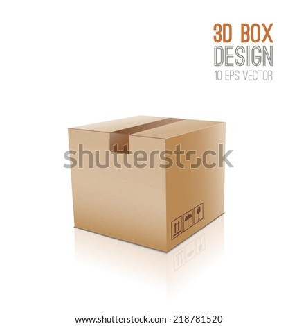 Vector cardboard box - stock vector