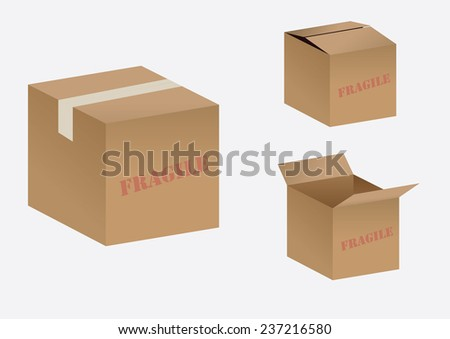 Vector cardboard box - stock vector