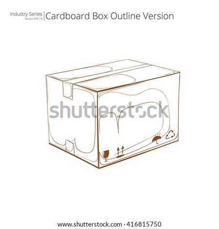 Vector Cardboard Box. Abstract closed Cardboard Box. Outline Version. Side view. Vector EPS10. - stock vector