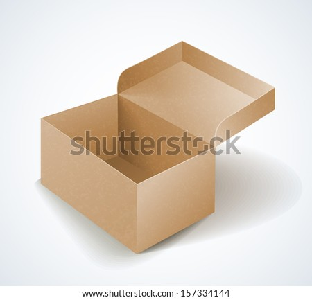 vector cardboard box with shadow isolated  - stock vector