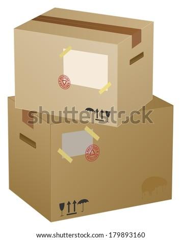 vector cardboard boxes ,  eps10 - stock vector