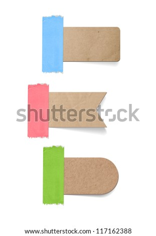 Vector cardboard labels / tags attached with a sticky tape