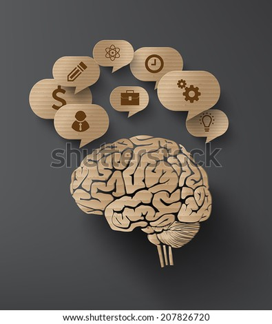 Vector Cardboard  of brain and bubble speech with icon. - stock vector