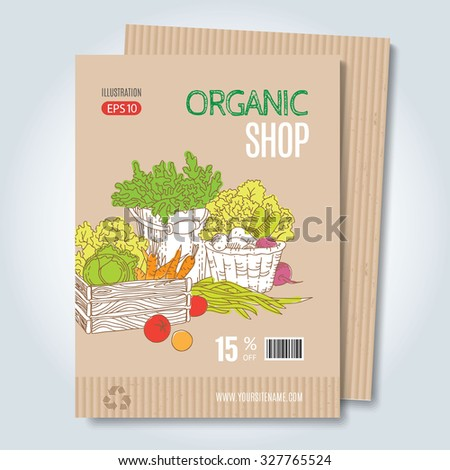 Vector cardboard poster. Modern hand drawn style for sale and discount of vegetarian shop, web, periodical, advertising, sticker and print. Concept for natural organic products shop, cover design. - stock vector