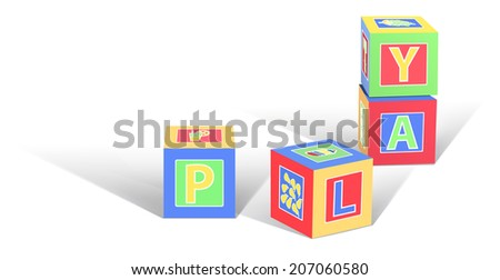 Vector Cardboard Toy Cubes, Eps10 Vector, Gradient Mesh and Transparency Used, Raster Version Available - stock vector