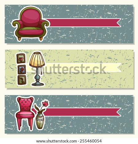 Vector cards, banners, flyers of furniture. Advertising template with space for text.
