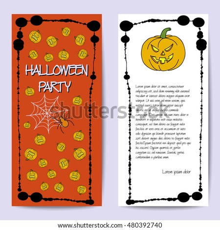 Vector cards template for Halloween party. Hand drawing pumpkin, spider, web. Splatter frame. Text inscription. Set of template for poster, banner, magazine, presentation, greeting card, invitation