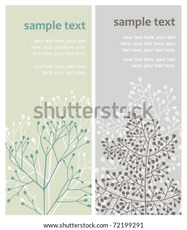 vector cards with abstract twigs - stock vector