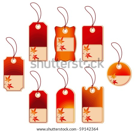 Vector cards with autumn leaves