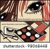 vector cards with colored make up and pretty eyes - stock vector