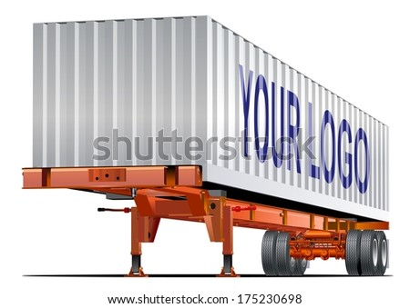 Vector Cargo semi trailer one-click repaint. Available EPS-10 vector format separated by groups and layers for easy edit. - stock vector