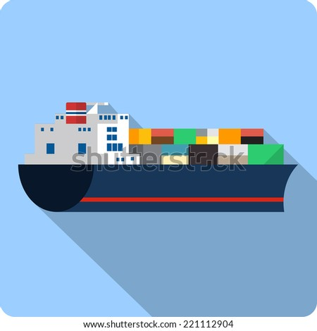 Vector Cargo Ship with Containers - stock vector