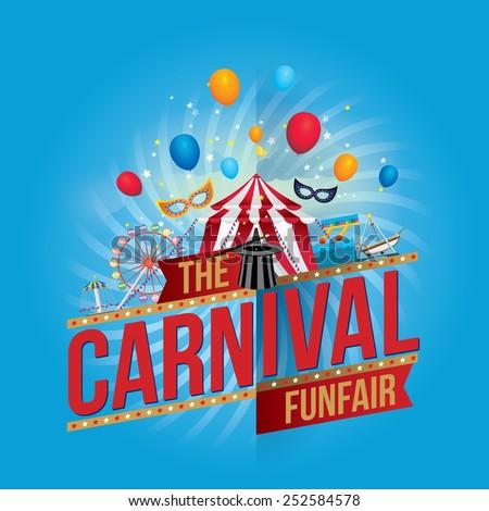 Vector carnival funfair design. - stock vector