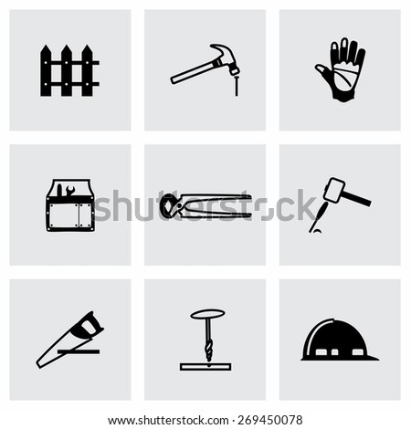 Vector Carpentry icon set on grey background - stock vector
