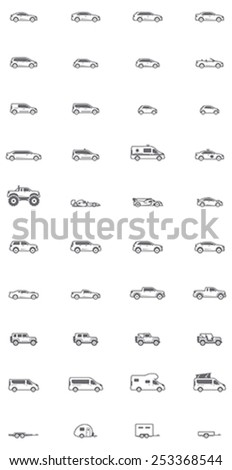 Vector cars and vans icon set  - stock vector