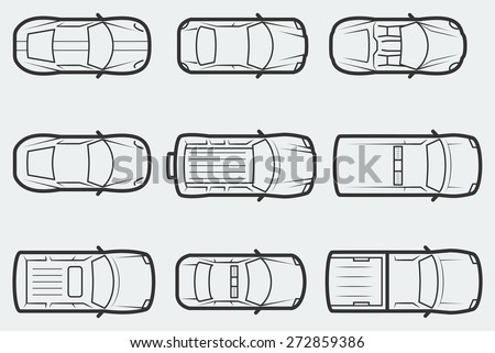 vector cars outline style top view stock vector 272859386