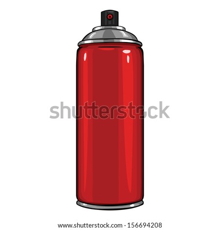 vector cartoon aerosol sprays with red paint - stock vector