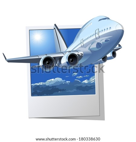 Vector Cartoon Airliner - stock vector