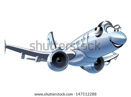 Vector Cartoon Airplane - stock vector