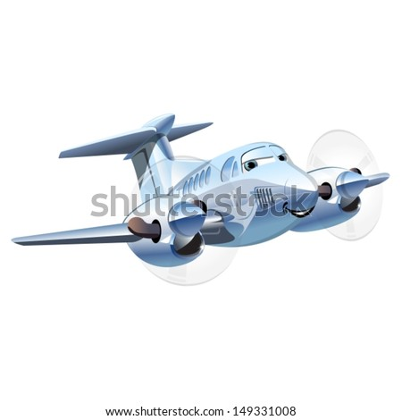 Vector Cartoon Airplane. Available EPS-10 vector format separated by groups and layers for easy edit - stock vector