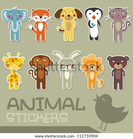 Vector cartoon animal stickers - stock vector