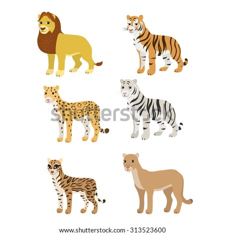 Vector cartoon animals: lion tiger leopard white tiger puma ocelot. The drawn set of wild cats. Collection of stylized predators in a flat style. - stock vector