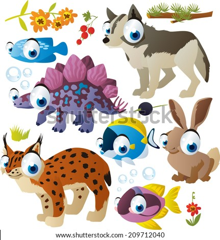 vector cartoon animals set: fish, wolf, lynx, dinosaur, hare - stock vector