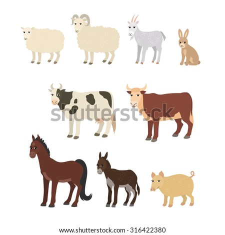 Vector cartoon animals: sheep goat donkey horse cow bull pig rabbit. The drawn set of domestic animals living on the farm. Collection of stylized pets in a flat style. - stock vector