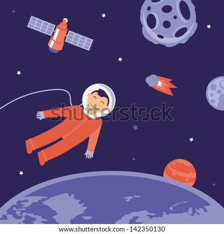 Vector cartoon astronaut in space - illustration in flat style