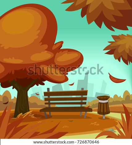 vector cartoon autumn park fall season stock vector royalty free